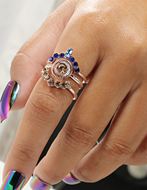 Fashion Sapphire Blue Diamond Decorated Ring