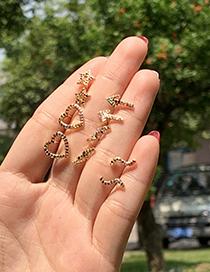 Fashion Gold Copper Inlaid Zircon Geometric Earrings