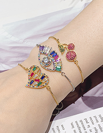 Fashion Gold Copper Inlay Zircon Eye Bracelet