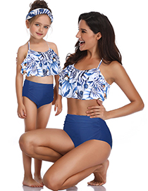 Fashion Adults Are White And Black Printed High Waist Parent-child Swimsuit