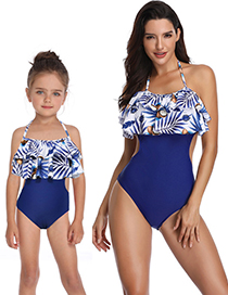 Fashion Adult Blue Printed Conjoined Double Ruffled Parent-child Swimsuit