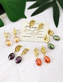 Fashion Champagne Alloy Conch Crystal Stud Earrings