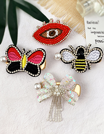 Fashion Color Pearl-studded Sequined Butterfly Stud Hair Clip