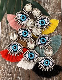 Fashion Red Alloy Rhinestone Eye Tassel Earrings