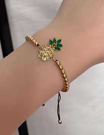 Fashion Gold Copper Inlaid Zircon Pineapple Beaded Bracelet