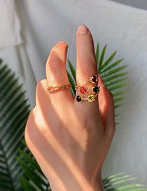 Fashion Gold Copper Inlaid Zircon Ring