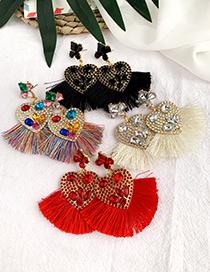 Fashion Color Alloy Diamond-studded Tassel Earrings