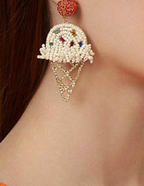 Fashion Blue Alloy Diamond Beads Ice Cream Earrings