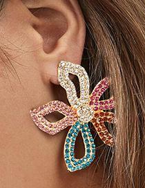 Fashion Color Alloy Diamond Flower Earrings