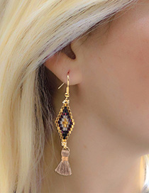 Fashion Yellow Dongbao Rice Beads Woven Tassel Earrings