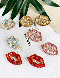Fashion Pink Alloy Diamond Lip Studs