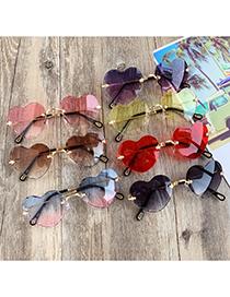 Fashion Purple + Pink Alloy Resin Love Sunglasses