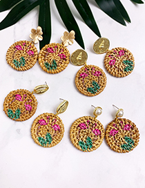 Fashion Khaki Alloy Wood Rattan Flamingo Round Earrings