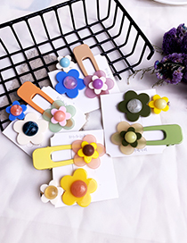 Fashion Green Alloy Resin Flower Duckbill Hairpin