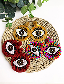 Orange Non-woven Rice Beads Eye Studs