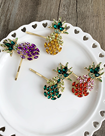 Fashion Red Alloy Diamond-encrusted Pineapple Hairpin