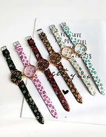 Leather Powder Alloy Pu Printed Watch