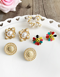 Color Alloy Resin Flower Earrings