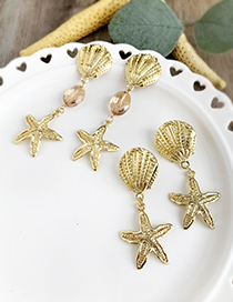 Gold Alloy Shell Starfish Earrings