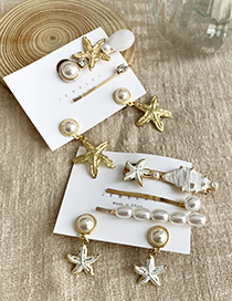 Gold Alloy Pearl Conch Shell Starfish Hairpin Earrings Set 4 Piece Set
