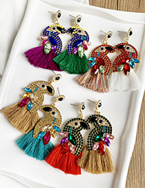 Fashion Red + Green Alloy Diamond-studded Bird Tassel Earrings