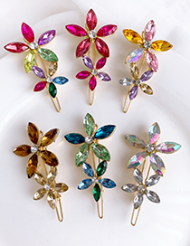 Fashion Light Color Alloy Diamond Flower Hair Clip