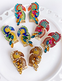 Fashion Champagne Alloy-studded Woodpecker Stud Earrings