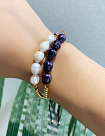Fashion White Copper Beaded Natural Pearl Bracelet