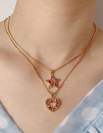 Fashion Gold Copper Inlaid Zircon Pentagram Necklace