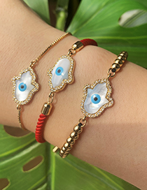 Fashion Red Copper Inlaid Zircon Braided Rope Palm Eye Bracelet