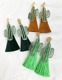Fashion Dark Green Alloy Hollow Cactus Tassel Earrings