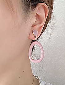 Fashion Pink Alloy Oval Earrings