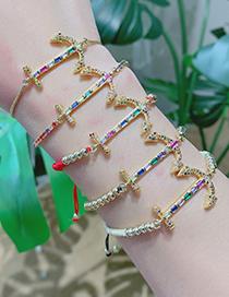 Fashion Gold Copper Inlaid Zircon Anchor Bracelet