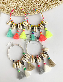 Fashion Color Alloy Rice Beads Shell Cotton Tassel Earrings