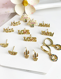 Fashion Gold Copper Inlaid Zircon Cactus Earrings