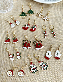 Fashion Christmas Tree White + Green Alloy Drip Christmas Stud Earrings