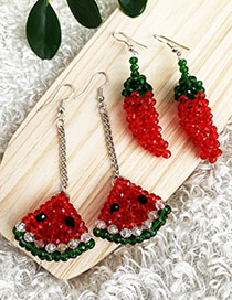 Fashion Red Alloy Resin Beads Watermelon Earrings