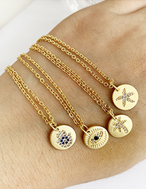 Fashion Gold Copper Inlay Zircon Round Palm Necklace