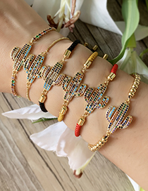 Fashion Gold Copper Inlaid Zircon Beaded Cactus Bracelet