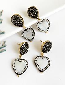 Fashion Gun Black Alloy Diamond Shell Love Earrings
