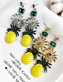 Fashion Silver Alloy Studded Pineapple Earrings