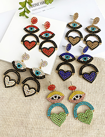 Fashion Green Alloy Diamond Eye Love Earrings