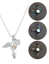 Fashion Blue Green Peace Dove Luminous Adjustable Necklace