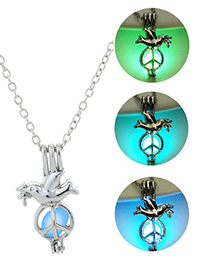 Fashion Blue Green Peace Dove Glowing Necklace