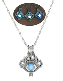 Fashion Blue Green Luminous Hollow Necklace