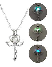 Fashion Blue Green Cage Angel Key Luminous Necklace