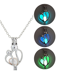 Fashion Yellow Green Hollow Mother And Child Luminous Necklace