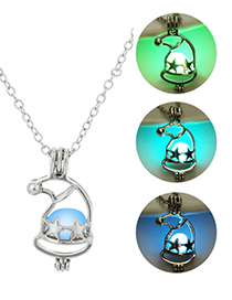 Fashion Blue Green Christmas Hat Luminous Necklace