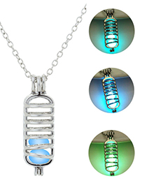 Fashion Blue Green Open Cage Cage Luminous Necklace
