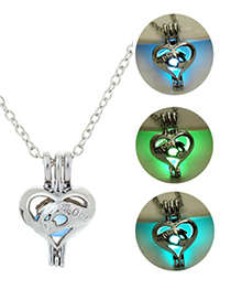 Fashion Blue Green Love Mom Night Light Necklace